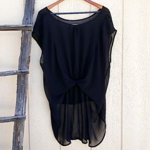 Forever 21 Tops - Forever 21 Tunic Sheer Top High Low Black Cinched
